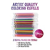 96 Color Gel Pen Refills Glitter, Metallic, and Neon for Adults Coloring Books, (48 Refills Per Pack)