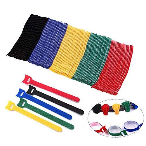 Xinlie Klettbinder Kabelklett Kabel-Klettband Klettband Kabelbinder Klettverschluss Büro Kabelbinder Klettbänder Klettverschluss in 5 Verschiedene Farbe-rot,grün,blau,gelb(100 Stück)