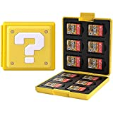 Etui kompatibel Für Nintendo Switch,Tragbar & Dünn, Schutzhülle Aufbewahrungsbox Spiele Cards Tasche,mit 12 Spiele Schlüssel + 12 TF Schlüssel (Question/Yellow)