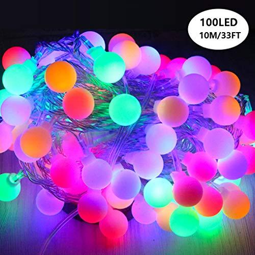 LED Ball String Lights, Zimingu 33ft 100 LED Wasserdicht Innen/Außen Bunte Ball Lights mit Plug, 8 Lighting Modes String Lights für Garten, Weihnachtsbaum, Parties (Mehrfarben)