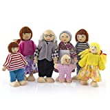 7 Pack Poseable Wooden Doll Dollhouse Dolls Wooden Doll Family Pretend Play Figures, Family Role Play Pretend Play Mini People Figures