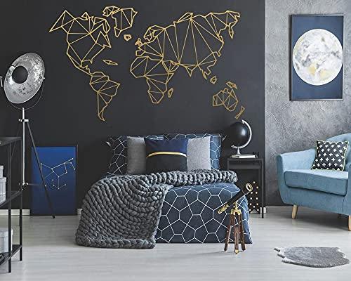 PMSMT Pegatina de Mapa del Mundo de Vinilo geométrico, Pegatinas de Pared extraíbles, decoración de Dormitorio, Sala de Estar, Accesorios de decoración