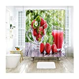 MaxAst Erdbeere Duschvorhang Anti Schimmel, Bunten Badewanne Vorhang 180x200CM, Antibakteriell Wasserdicht mit Kunststoff Ringe Kein Rost