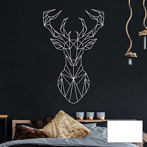 Wandtattoo geometrischer Hirsch polygonaler Stil Wanddeko Flur Schlafzimmer Wohnzimmer M2433 - ausgewählte Farbe: *weiß* ausgewählte Größe: *M - 70cm hoch x 46cm breit*