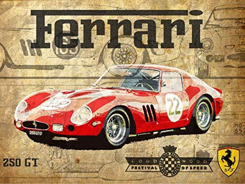 Placa metal vintage Ferrari GTO 3 25,4 x