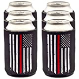 Firefighter Gifts for Men Thin Red Line Can Coolers | 6-Pack of Beer Sleeves | Fireman Gifts for Men Black Beer Can Holder with Red Stripe American Flag | Fire Fighter Accessory (Six Pack)