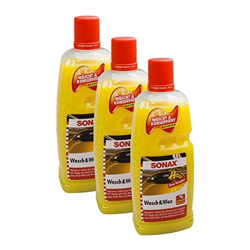 SONAX 3X 03133410 Wasch & Wax Lackpflege Konservierung 1L