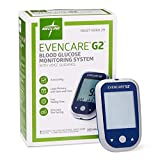 Evencare Medline EvenCare G2 Blood Glucose Monitoring Meter, Includes Meter, Batteries, Guide, Carrying Case, Log Book, with Voice Guidance