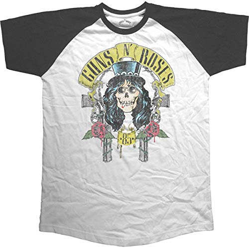 Rockoff Trade Herren Guns N Roses Slash 85 Raglan T-Shirt, Weiß (White White), L