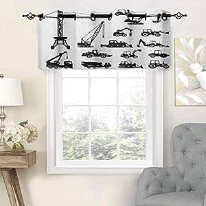 Hiiiman - Cortina opaca para ventana, siluetas negras, mezcladoras de hormigón, juego industrial, camiones tractores, juego de 2, 137 x 91,4 cm para interior, salón, comedor, dormitorio