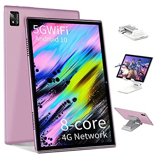 Tablet 10.1 Pulgadas Android 10 5G WiFi 4G LTE 6GB RAM+64GB ROM (512GB Expandible) - Dobles SIM+TF/SD, Bluetooth/Octa Core 1.5 GHz/GPS/Dobles Cámaras/Type C/Soporte de Soporte para Tablet PC - Rosa
