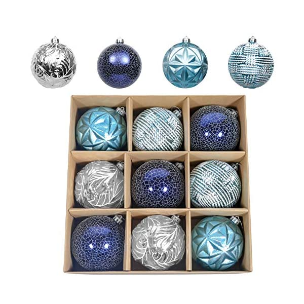 Valery Madelyn 9ct 100mm Winter Wishes Silver and Blue Shatterproof Ball Ornaments for Christmas Tree, Large Christmas Tree Ornaments Decoration