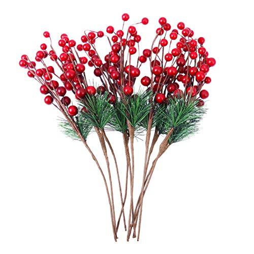 SUPVOX 10 Stück künstliche Weihnachtsblumen rote Beerenstiele künstliche Kiefernstiele für Christbaumschmuck und Wohnkultur