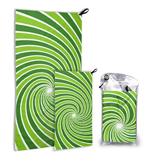 Vigas abstractas Rayos radiales con estampado verde Paquete de 2 Toallas de playa de microfibra Niños Toallas de playa Conjunto de niñas Secado rápido Lo mejor para viajes de gimnasio Mochilero Yoga