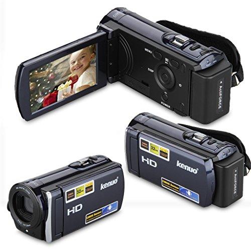KENUO HD 1080P 16MP Digital Video Kamera 3,0 Zoll 16:9 LCD Screen 16x Zoom DV Camcorder Blau