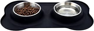 Leeko ペットボウル 食器 皿 犬猫用 餌いれ ステンレス製 滑り止め こぼれ防止シリコン台セット Mサイズ ブラック