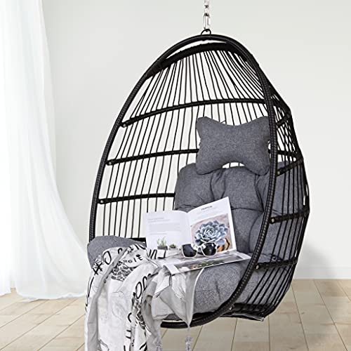 Hanging Egg Hammock Chair with Seat Cushions - Black Polyethylene Wicker Rattan Frame and Hanging...