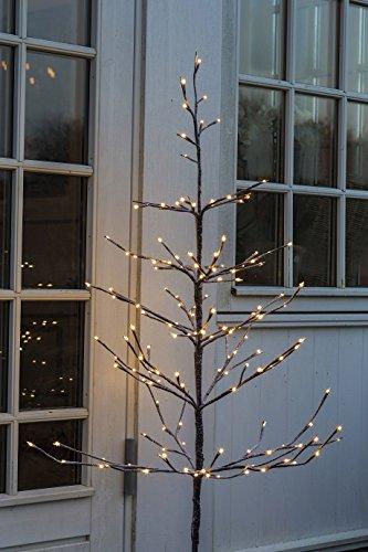 Sirius LED Leuchtbaum Alex Tree braun schneebedeckt - 160 LED warmweiß - Höhe 120 cm - für den Außenbereich geeignet - mit Standfuß aus Metall - Zuleitung 8 m