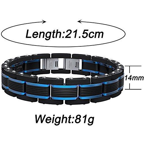 Coolman Jewelry Men's Bracelet Blue&Black Adjustable 8.5-9 Inch ( With Branded Gift Box)