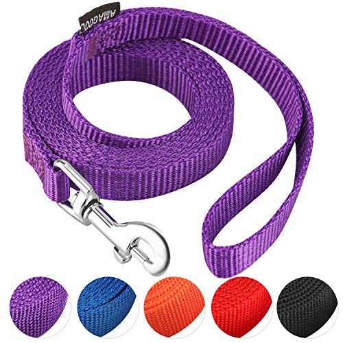 AMAGOOD 6 FT Puppy/Dog Leash, Strong and Durable Traditional Style Leash with Easy to Use Collar Hook,Dog Lead Great for Small and Medium and Large (Purple,5/8