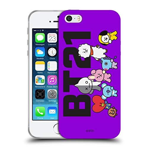 Head Case Designs Licenza Ufficiale BT21 Line Friends Posa di Gruppo La Gang Cover in Morbido Gel Compatibile con Apple iPhone 5 / iPhone 5s / iPhone SE 2016