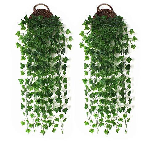 DELSEN 2 Stück 99 cm Künstliche Efeu-Hängepflanze zum Aufhängen