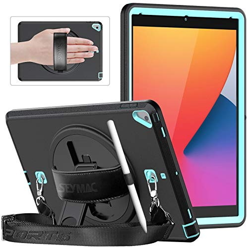 SEYMAC Funda protectora delgada a prueba de golpes para iPad 8/7ª generación 2020/2019, iPad 10.2 con protector de pantalla, soporte giratorio, correa de mano, correa de hombro, azul claro