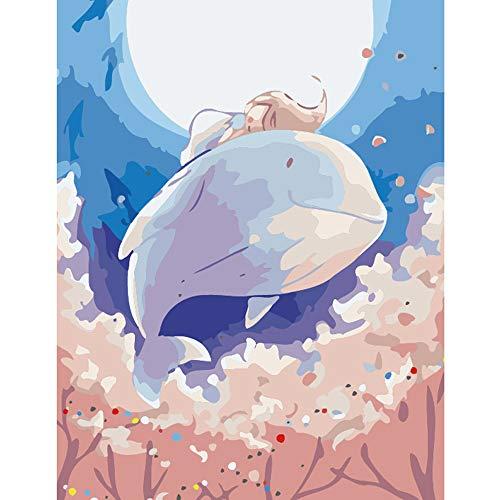 LvJin DIY Pintura Digital Muñeca Ballena voladora, Lienzo Blanco y Negro sin Marco, 16 * 20 in, Pintura de números, Kit de Pintura