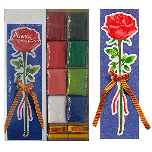 Arenart - Set Pintar con Arenas de Colores - Rosa de Sant Jordi (Rojo)