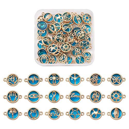 Beadthoven 36 piezas KC chapado en oro, aleación de cristal, dijes planos redondos con árbol de flores, diseño de búho, ojo de diamantes de imitación para pulsera y collar