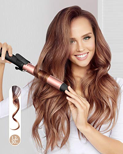 KIPOZI 1.2 Inch Curling Iron with Ceramic Coating Barrel, Hair Curler with Anti-scalding Insulated Tip, Dual Voltage,Include Heat Resistant Glove(Rose Pink) for Mother's Day