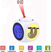 JLHEB Projection White Alarm Clock Digital LCD Display Voice Talking Table Clocks Temperature Snooze Function Desk Cute Sloth Cartoon