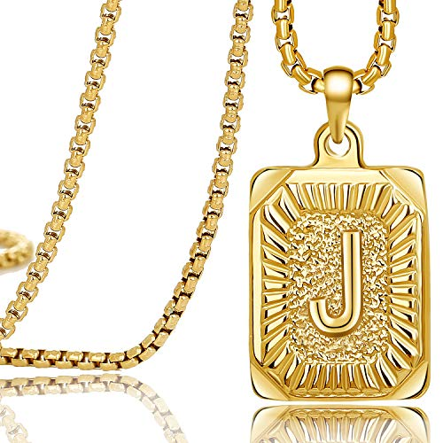Gold Square Initial Necklaces for Women Teen Girls Letter J Personalized Name Birthday Gifts for Mom Daughter Wife Girlfriend Stainless Steel Box Chain Vintage Medallion Pendant Necklace