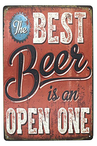 ARTCLUB Best Beer Is An Open One Retro Metal Tin Sign, Antique Plaque Poster Bar Pub Man Cave Home Wall Decor
