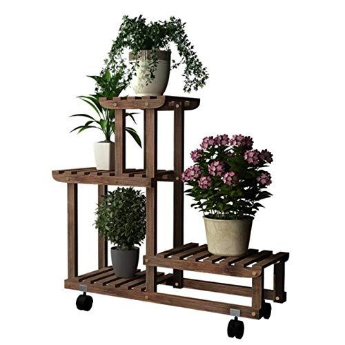 HJ Plante Support à étagère 4 niveaux supérieurs de niveau inférieur Shelf Gain d'espace fleur Présentoir for Gardening Patio Balcon Salon Salle de bain intérieure Bureau extérieur