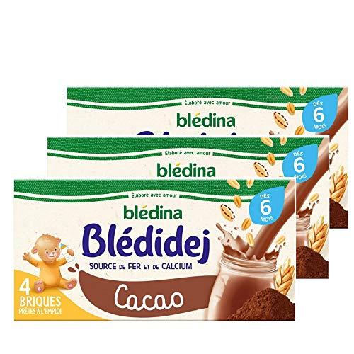 Blédina Blédidej, Céréales bébé Lactées Cacao, Dès 6 Mois, 250 ml (Pack de 3x4 briques)
