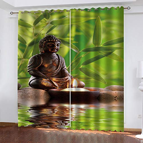 Blackout Curtains for Bedroom Abstract buddha statue Total size:110' wide x 114' drop (280cm x 290cm) Super Soft Grey Bedroom Eyelet Curtains Drop Noise Reduce Panels for Nursery for Home Decoration。