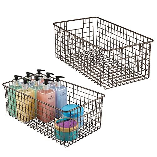 mDesign Juego de 2 cajas organizadoras de alambre metálico con asas – Organizador de cajones con diseño atractivo – Contenedor metálico ideal como organizador de cosméticos para baño – color bronce