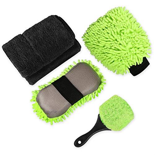 HOMENOTE Car Wash Kit, 4Pcs Car Cleaning Tools Kit with Car Wash Mitt, Wash Sponge Tire Brush Coral Towel and Car Washing Sponge
