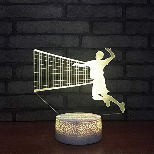 YOUPING Lámpara de ilusión 3D LED, luz nocturna colorida, juego visual de voleibol, modelado, lámpara de escritorio, decoración creativa de moda juvenil