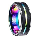 NUNCAD Ring Damen/Herren 8mm breit schwarz + Multifarbe Design, Wolfram Ring für Jugendliche, Ring...