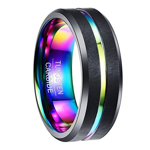 NUNCAD Ring Herren/Damen schwarz + Multifarbe für 70er, 80er und 90er, Wolfram Ring Unisex 8mm für Lifestyle, Fashion, Fasching und Trauung, Größe 59 (19)