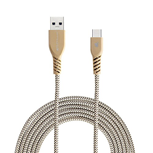 TECHGEAR Extra Long [2M] STRONG High Durability Braided USB C Charging & Data Sync Cable Compatible for Samsung Galaxy Tab A 10.1' 2019 T510, Tab A 10.5' T590, Tab S6 S5e S4 10.5', S3 9.7' - GOLD
