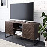 Nathan James Dylan Media Console Cabinet or TV Stand with Doors for Hidden Storage Herringbone Wood Pattern and Metal, Gray/Matte Black