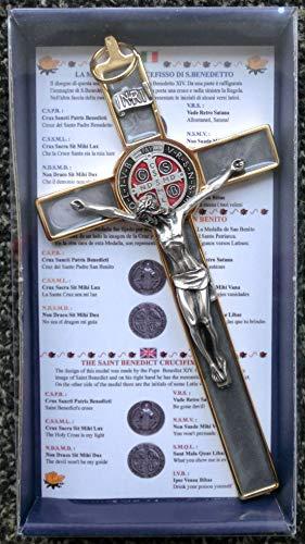 GTBITALY 10.004.21 Grigio Marmo Pietra Croce di San Benedetto crocefisso Oro Dorato 20 cm smaltato a Mano con Scatola Regalo e Preghiera prete esorcismo esorcista