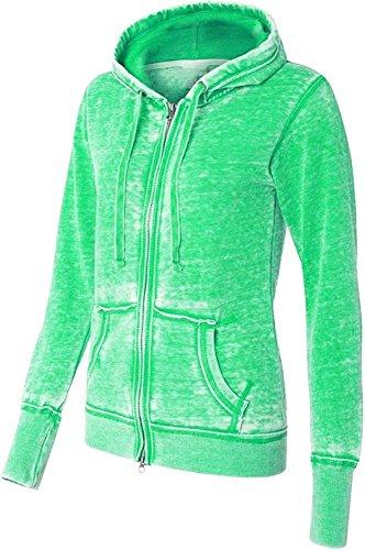 Yoga Jacket - Women Athletic Zip up Jacket - Burnout Light Weight Soft Fleece - Hooded Sweatshirt. (Large, Green)