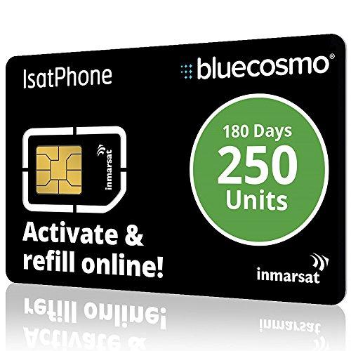 BlueCosmo IsatPhone 250 Unidades Teléfono Satélite Global Tarjeta SIM Servicio Prepago para Inmarsat IsatPhone Pro e IsatPhone 2-192 Minutos - 500 Mensajes de Texto SMS - 6 meses de caducidad - Sin Tarifas de Activación