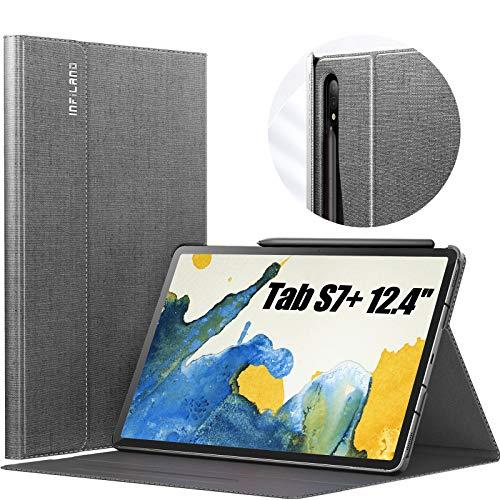 INFILAND Hülle für Samsung Galaxy Tab S7+/S7 Plus 12.4 (T970/T975/T976) 2020, Hochwertige mit Mehreren Winkeln Schutzhülle Tasche mit Auto Schlaf/Wach Funktion, Grau