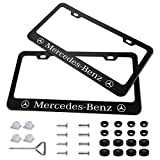 Bocianelli 2 Pieces Stainless Steel for Mercedes-Benz License Plate Frame with Screw Caps Cover Set, Matte Black