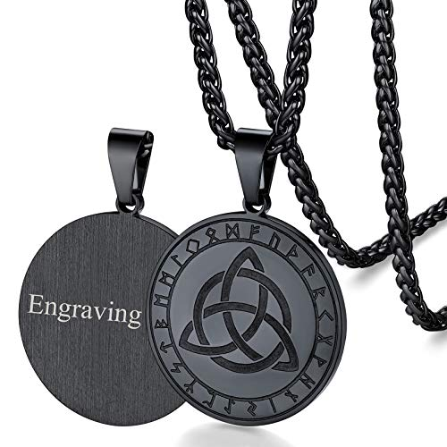 FaithHeart Personalized Nordic Viking Vegvisir Mjolnir Celtic Knot Amulet Pendant Pagan Vintage Original Jewelry for Men Women's Protector with 24 Inch Wheat Chain